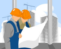 Two builders look on plan Stock Images