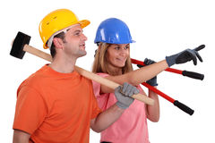 Two builders pointing Royalty Free Stock Photo