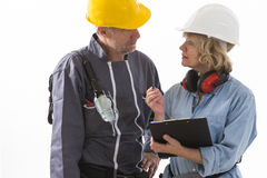 Two builders workers royalty free stock photos