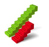 Two building block stairs 3d. Red and green building block stairs, success and failing concept 3d Stock Photo