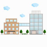 Two buildings. The connection bridge. The flat design. Stock Image