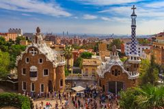 Two buildings at the entrance of the Antoni Gaudi Park Guell in. Two buildings at the entrance of the famous Antoni Gaudi Park Guell in Barcelona, Spain with the royalty free stock photography