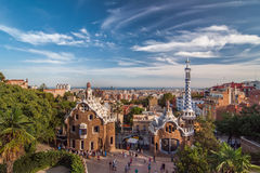 The two buildings at the entrance of the park Guell. Royalty Free Stock Image