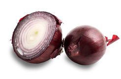 Two bulbs of red onion on a white background. Two bulbs of red onion isolated on a white background Royalty Free Stock Images