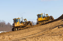 Two bulldozer at Work Royalty Free Stock Image