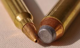 Free Two Bullets, A 44 Magnum And A 223 Caliber Royalty Free Stock Photo - 129247035