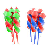 Two bunches of firework rocket isolated. On white vector illustration