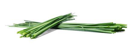 Two bunches of fresh chive onions on a white isolated background. stock images