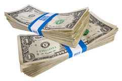 Two Bundles of One Dollar Bills Revised. Two stacked bundles of one dollar bills.  Each bundle is one hundred dollars.  On a white background Stock Image