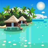 Two bungalows among palm trees on the seashore vector image vector illustration