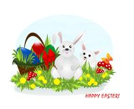 Two bunnies and Easter eggs, cdr vector Stock Photo