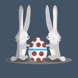 Two bunny and easter egg. Vector illustration Stock Photography