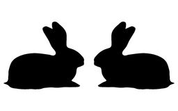 Two bunny silhouette on a white background Stock Photos