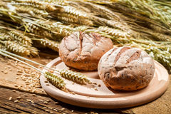 Two buns on the background of grain with ears Royalty Free Stock Photos