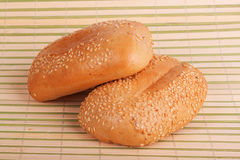 Two buns with sesame seeds Stock Image