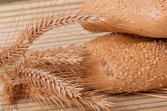 Two buns with wheat spikelets Stock Photo