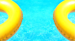 Two buoys on aquamarine sea. Background created by two yellow buoys on a calm aquamarine sea stock photo