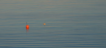 Two buoys on water ripples Royalty Free Stock Images