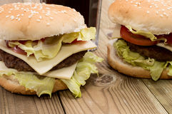 Two Burger with Softdrink Royalty Free Stock Photography