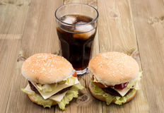 Two Burger with Softdrink Stock Photography