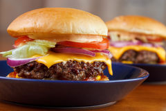 Two burgers closeup Stock Images