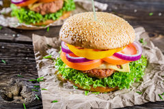 Two burgers made ��from fresh vegetables Royalty Free Stock Photography