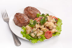 Two Burgers with Potato Salad Royalty Free Stock Photography
