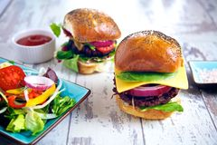 Two burgers Royalty Free Stock Photography