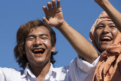 Two Burmese men closeup Stock Photography