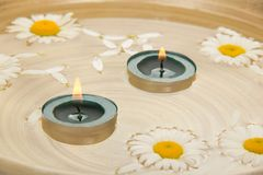 Two burning candles, camomiles heads in water Stock Photography