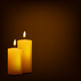 Two burning candles on a dark background. Vector EPS10 illustration Royalty Free Stock Photography