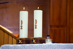 Two burning candles Royalty Free Stock Image