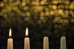 Two burning candles on the second advent royalty free stock photography