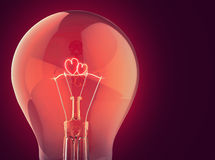 Two burning heart in the electric lamp Royalty Free Stock Image