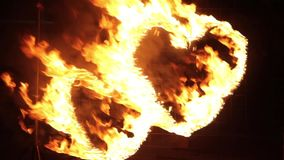 Two burning heart. Fire show on the street at night. HD stock video footage