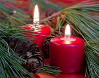 Two Burning Red Candles Stock Image