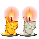 Two burning wax candles, white and yellow color. Vector illustration isolated on white. Background Royalty Free Stock Images