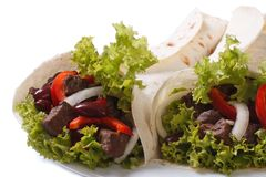 Two burritos with meat and vegetables isolated Royalty Free Stock Photography