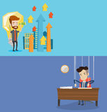 Two business banners with space for text. Vector flat design. Horizontal layout. Businessman marionette hanging on strings like a puppet. Businessman Royalty Free Stock Photo