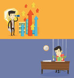 Two business banners with space for text. Vector flat design. Horizontal layout. Businessman marionette hanging on strings like a puppet. Businessman Stock Photos