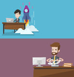 Two business banners with space for text. Vector flat design. Horizontal layout. Businessman sitting in office and tearing furiously invoices. Man calculating Royalty Free Stock Image