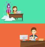 Two business banners with space for text. Vector flat design. Horizontal layout. Caucasian business woman sitting in office and tearing furiously bills. Young Stock Image