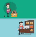 Two business banners with space for text. Vector flat design. Horizontal layout. Chained to a large ball businessman standing near box with bags full of taxes Royalty Free Stock Images