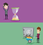 Two business banners with space for text. Vector flat design. Horizontal layout. Desperate businessman looking at hourglass. Businessman worrying about Stock Photography
