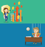 Two business banners with space for text. Vector flat design. Horizontal layout. Business woman marionette hanging on strings like a puppet. Business woman Stock Photos