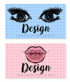 Two business card template for beauty salon, make-up or cosmetic companies. Royalty Free Stock Photo