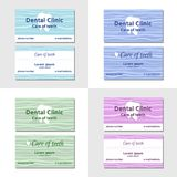 Two business card templates for dental clinics. With illustration of tooht in four colours Stock Image