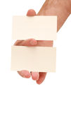 Two business cards in hand Stock Photography