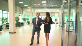 Two business colleagues in discussion. In office , businessman and businesswoman stock video