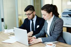Busy co-workers. Two business colleagues doing their work by desk in office royalty free stock photography